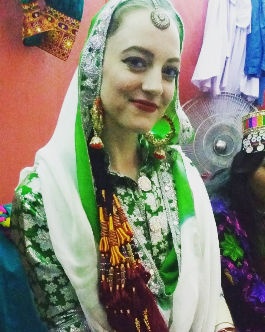 In full Punjabi traditional dress for the bhangra performance!